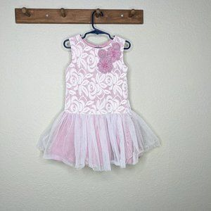 Marmellata Dress Size 5 White Pink Lace Tulle